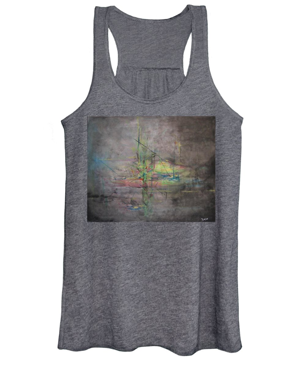 Abstract Women's Tank Top featuring the painting AWAKENING ABSTRACT 1 Black Background Bright Detail by Lizzy Forrester