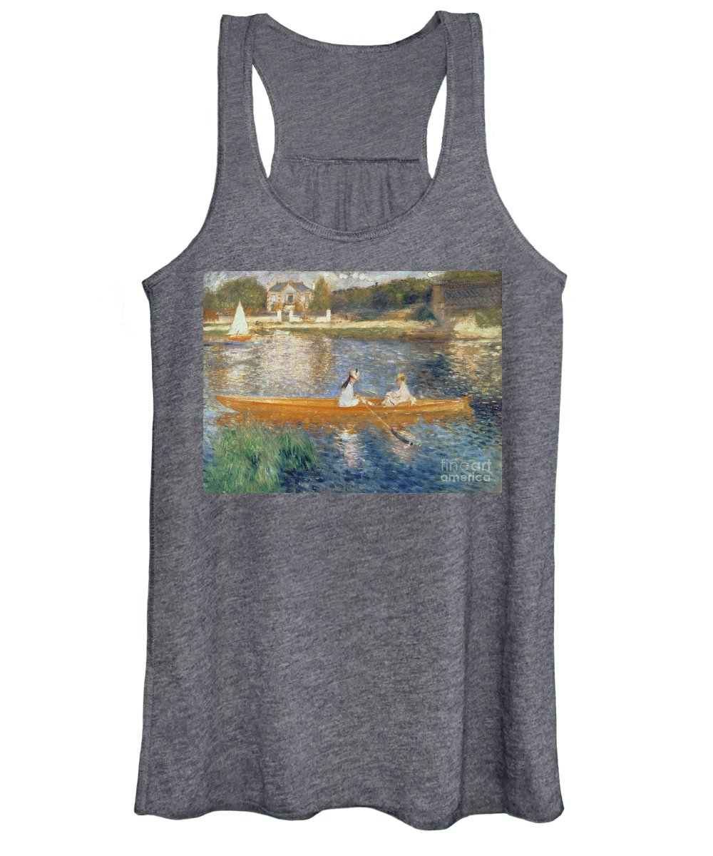 Boating On The Seine Women's Tank Top featuring the painting Boating On The Seine by Pierre Auguste Renoir