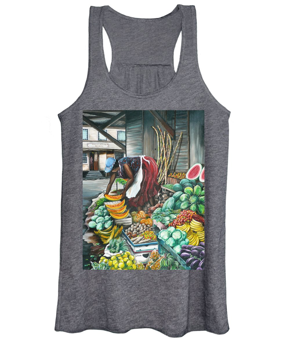 Caribbean Painting Market Vendor Painting Caribbean Market Painting Fruit Painting Vegetable Painting Woman Painting Tropical Painting City Scape Trinidad And Tobago Painting Typical Roadside Market Vendor In Trinidad Women's Tank Top featuring the painting Caribbean Market Day by Karin Dawn Kelshall- Best
