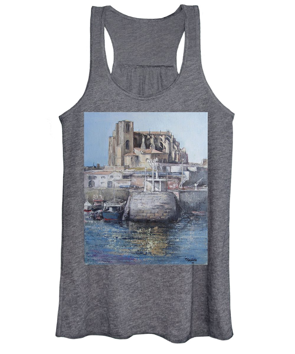 Castro Women's Tank Top featuring the painting Castro Urdiales by Tomas Castano