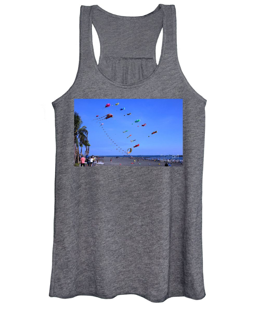 Kites Women's Tank Top featuring the photograph Colorful Kites During Beach Festival by Yali Shi