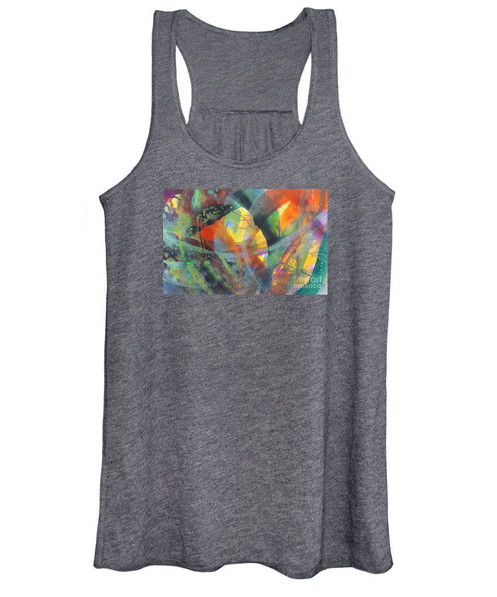 Abstract Women's Tank Top featuring the painting Connections by Lucy Arnold