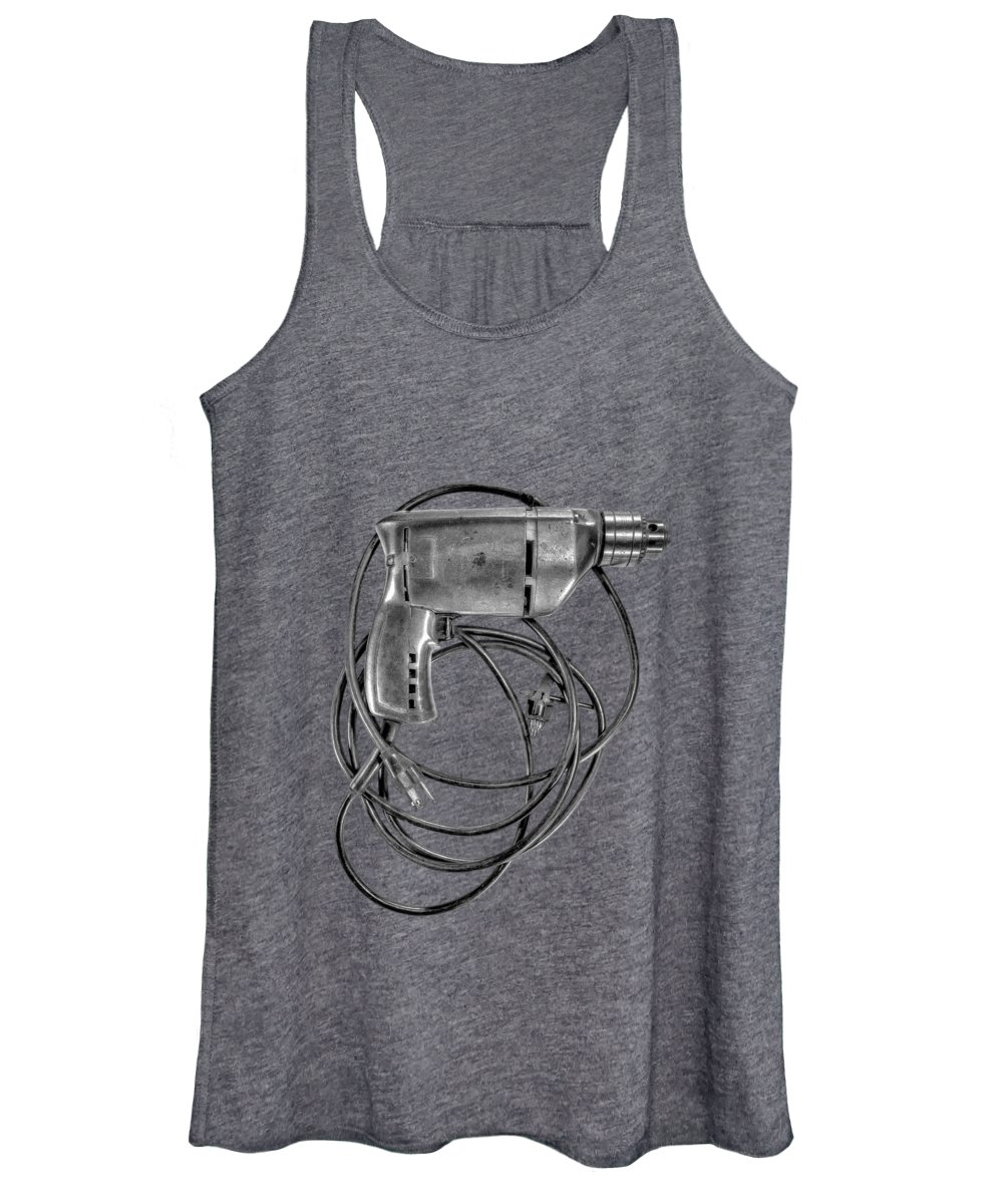 Antique Women's Tank Top featuring the photograph Craftsman Drill Motor Bs Bw by YoPedro