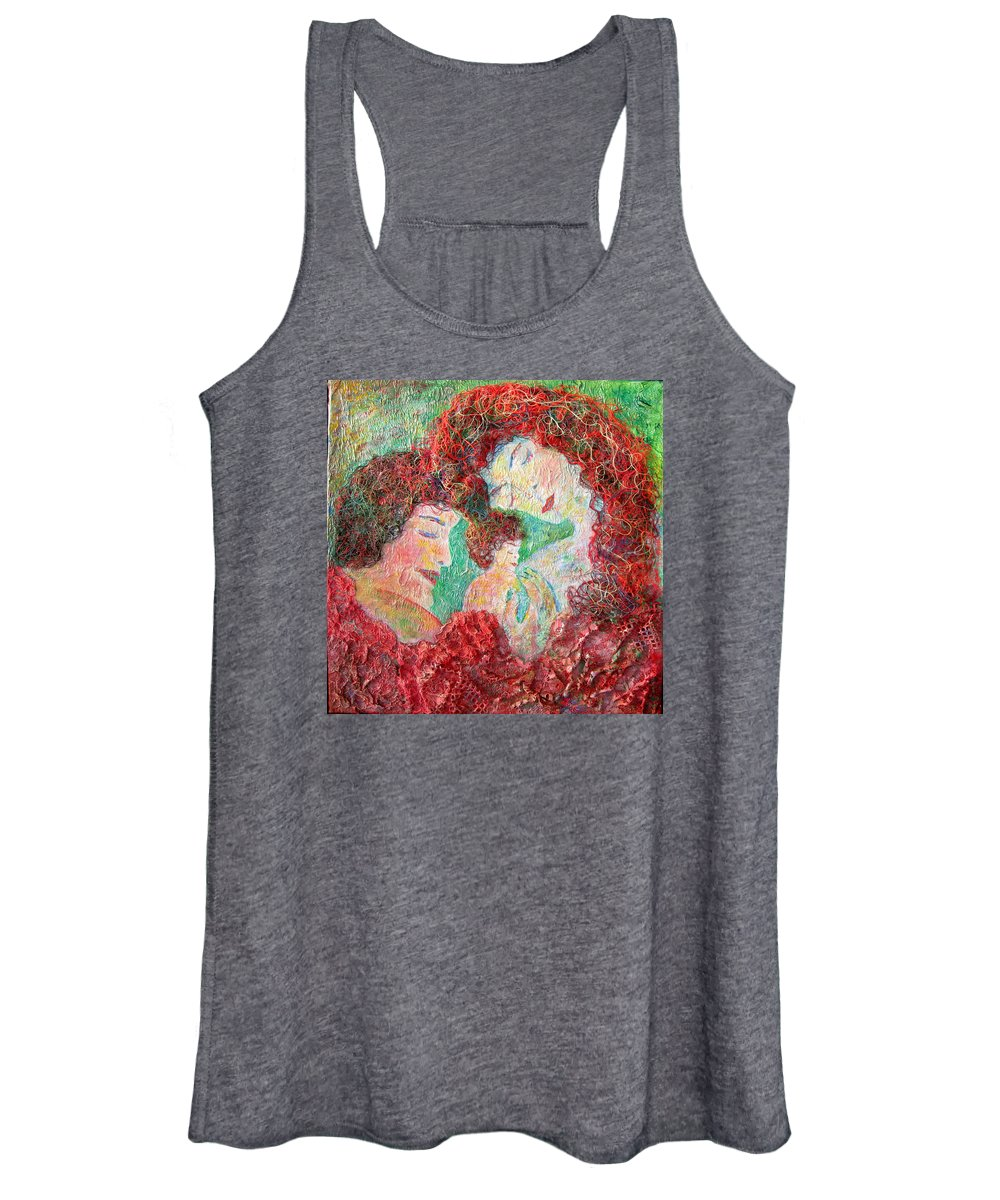 Mother Women's Tank Top featuring the painting Family Safety by Naomi Gerrard