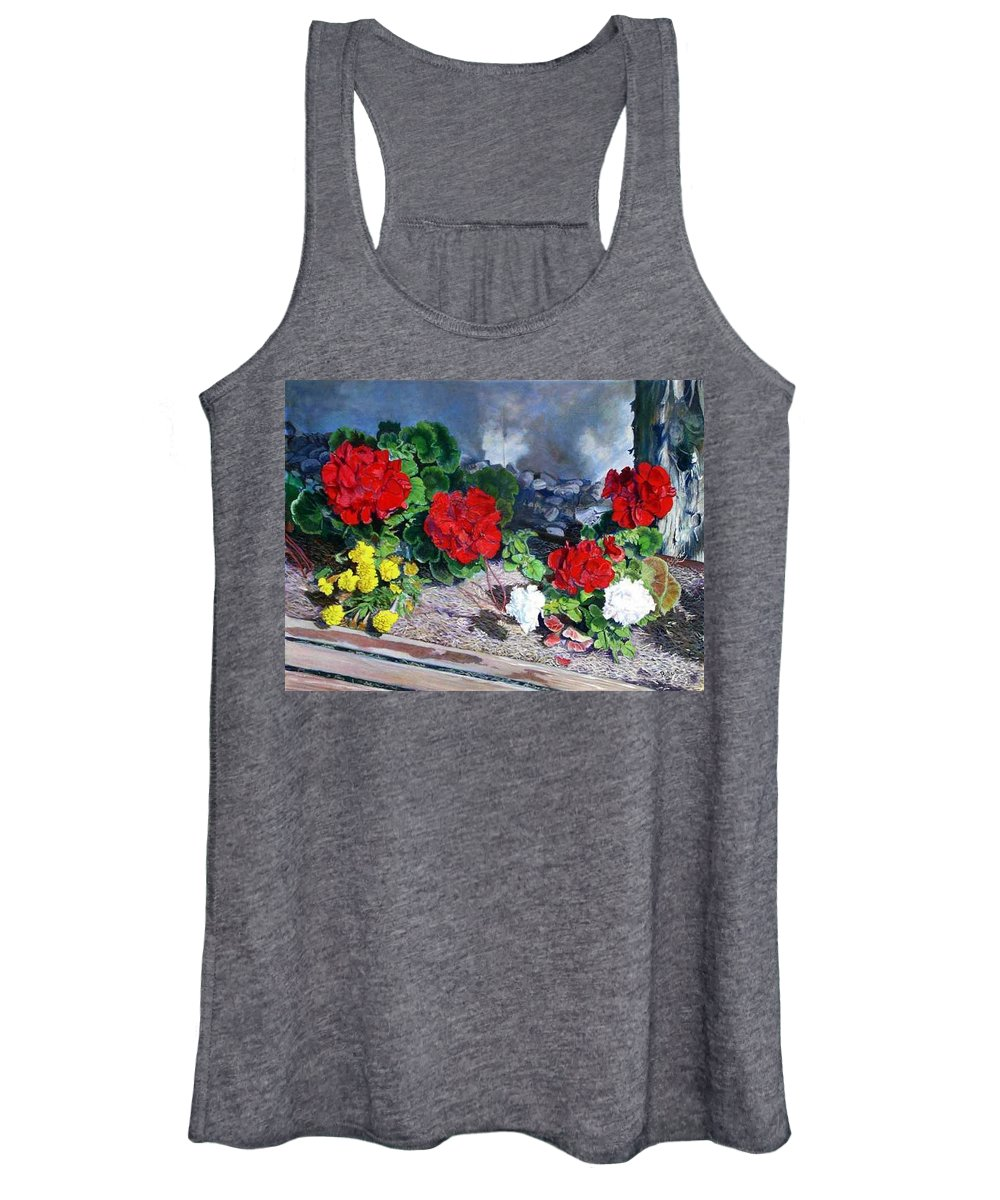 Colorful Flowers Outside Of The Church Women's Tank Top featuring the painting Flowers At Church by Scott Robertson