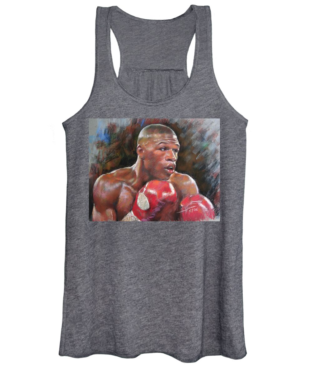Floyd Mayweather Jr. Women's Tank Top featuring the pastel Floyd Mayweather Jr by Ylli Haruni