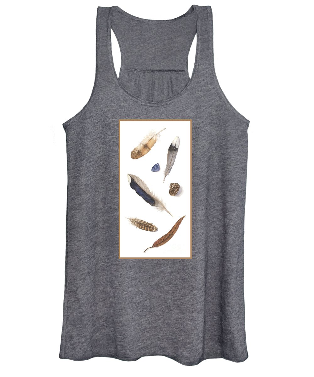 Feathers Women's Tank Top featuring the painting Found Treasures by Lucy Arnold