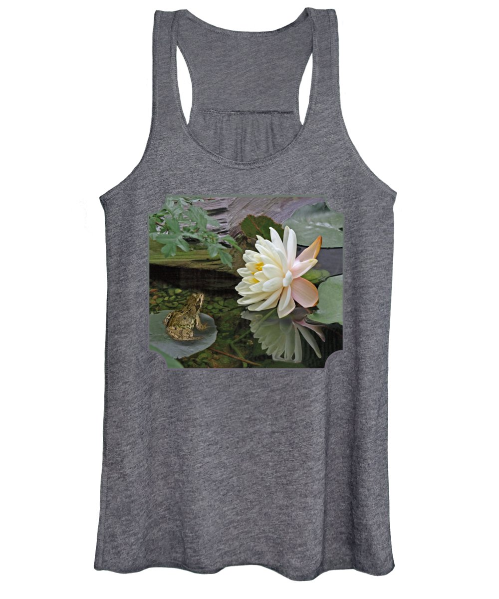 White Waterlily Women's Tank Top featuring the photograph Frog In Awe Of White Water Lily by Gill Billington