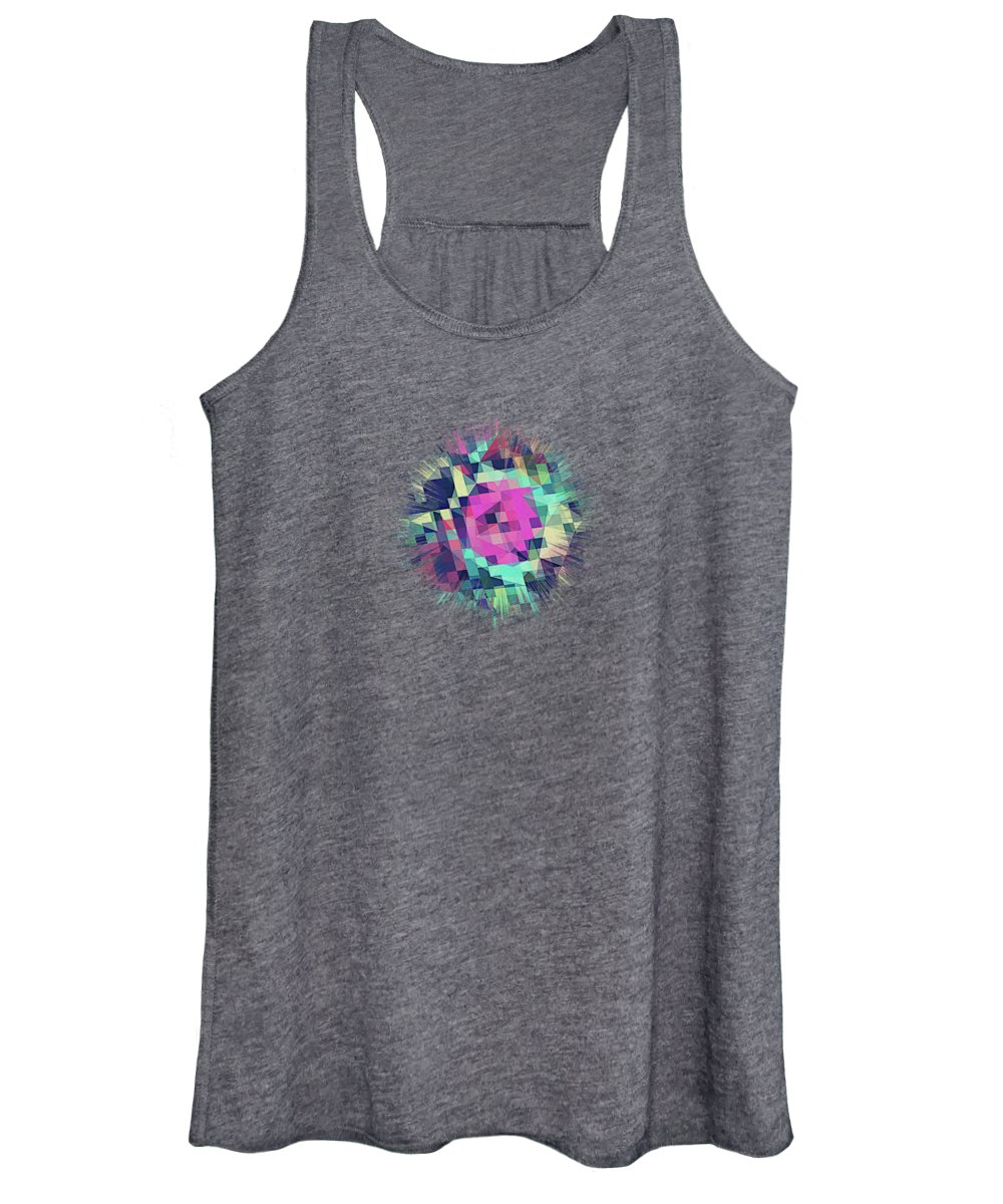 Abstract Women's Tank Top featuring the digital art Fruity Rose  Fancy Colorful Abstraction Pattern Design green pink blue by Philipp Rietz