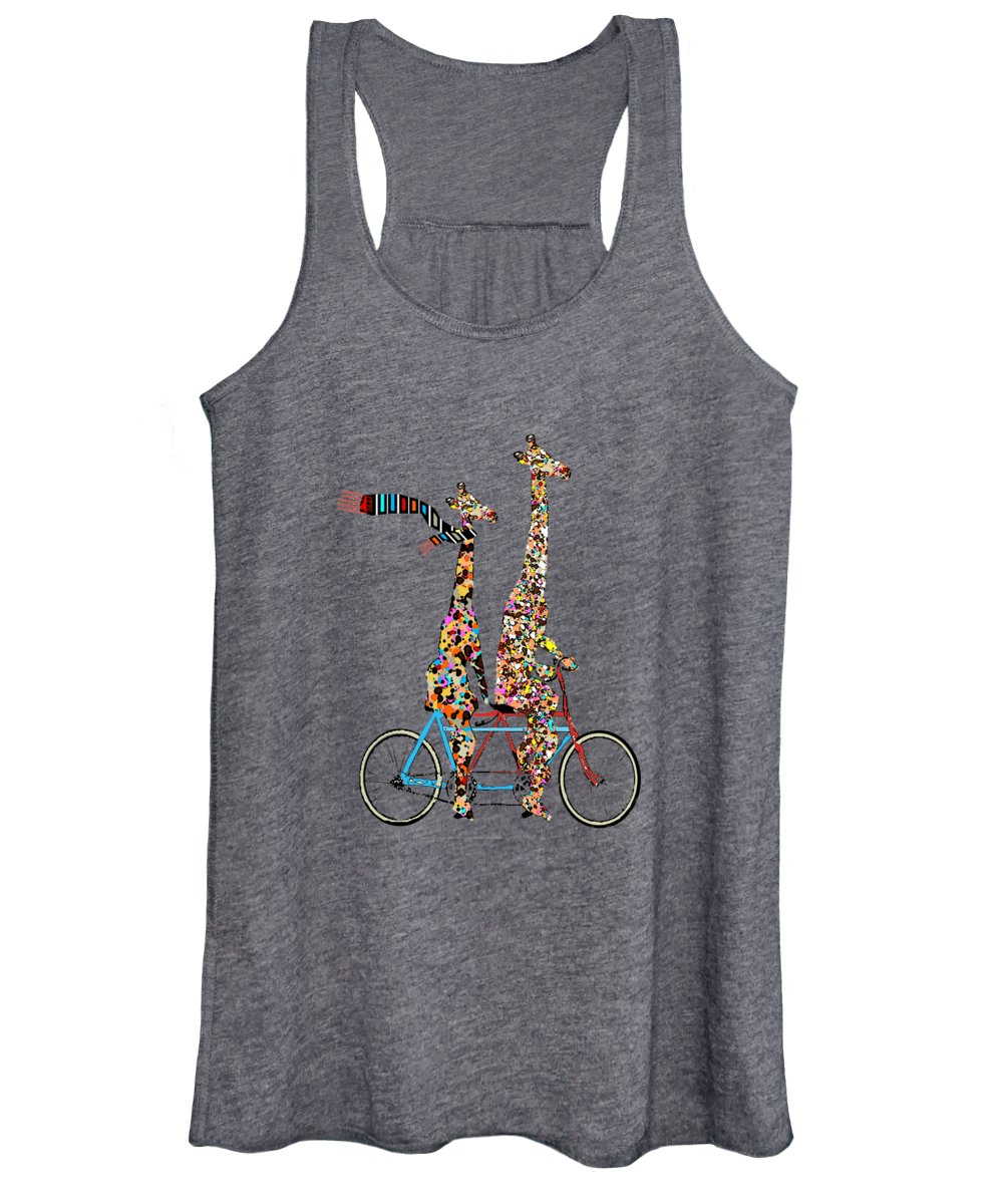 Giraffes Women's Tank Top featuring the painting Giraffe Days Lets Tandem by Bri Buckley