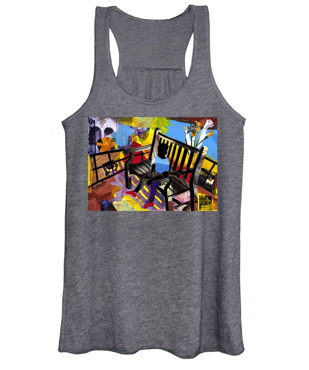 Everett Spruill Women's Tank Top featuring the painting Girl In Red Shoes by Everett Spruill