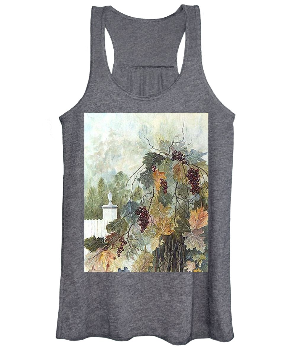 Fruit Women's Tank Top featuring the painting Grapevine Topiary by Ben Kiger