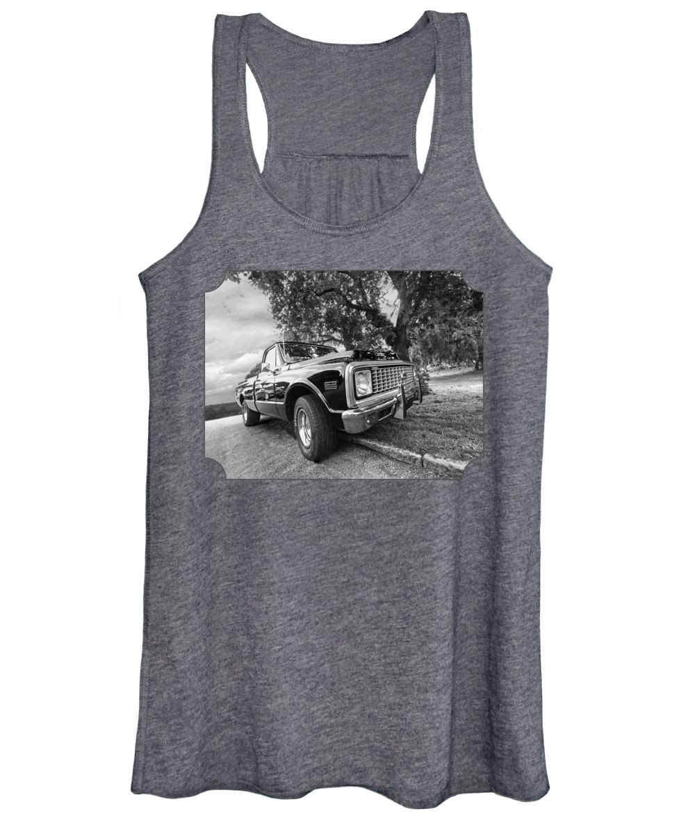Chevrolet Truck Women's Tank Top featuring the photograph Halcyon Days - 1971 Chevy Pickup Bw by Gill Billington