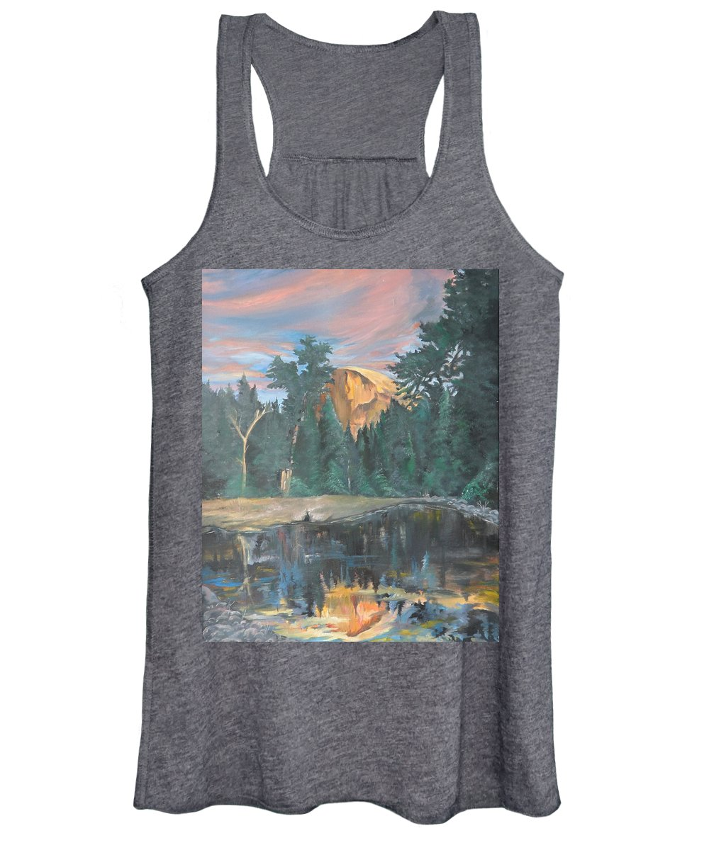 Sunset Women's Tank Top featuring the painting Half Dome Sunset by Travis Day