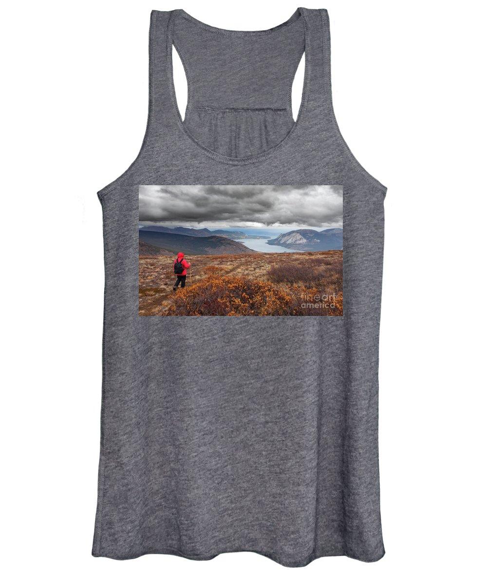 Montana Mountain Women's Tank Top featuring the photograph Hiking Rainy Autumn Fall Boreal Alpine Tundra Path by Stephan Pietzko