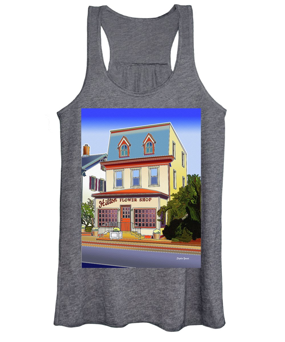 Catonsville Women's Tank Top featuring the digital art Hilton Flower Shop by Stephen Younts