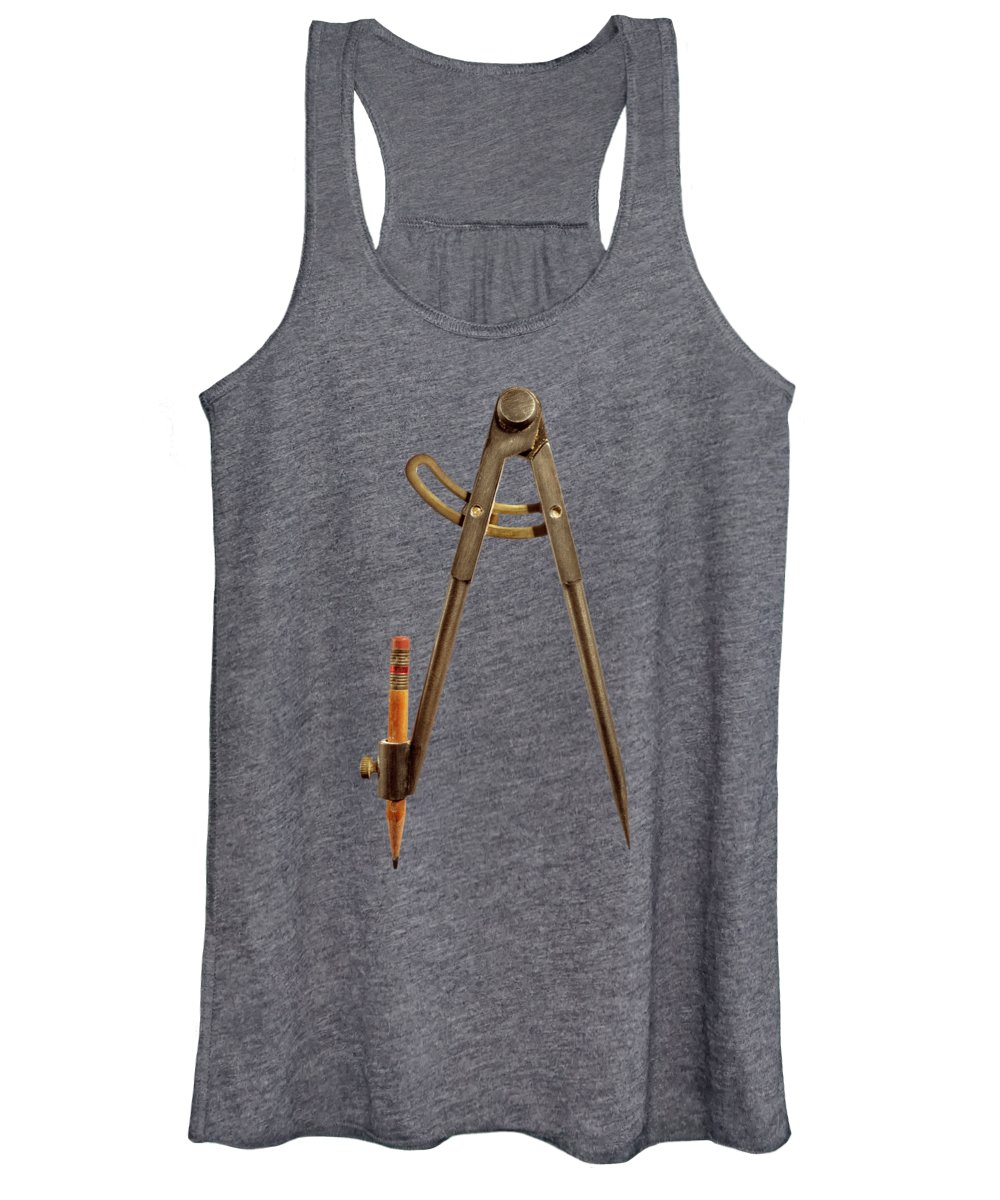 Industry Women's Tank Top featuring the photograph Iron Compass Back On Black by YoPedro