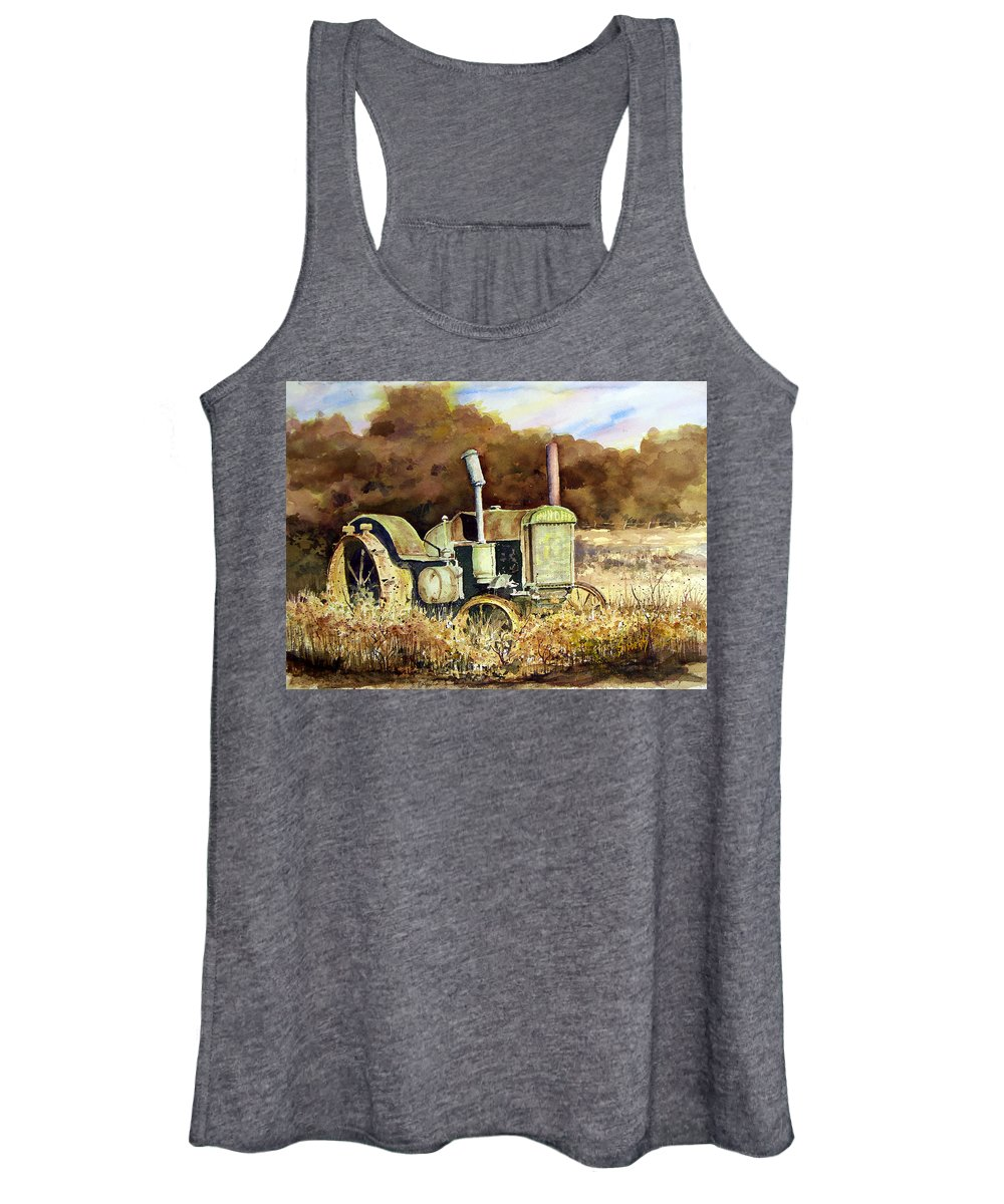 Tractor Women's Tank Top featuring the painting Johnny Popper by Sam Sidders