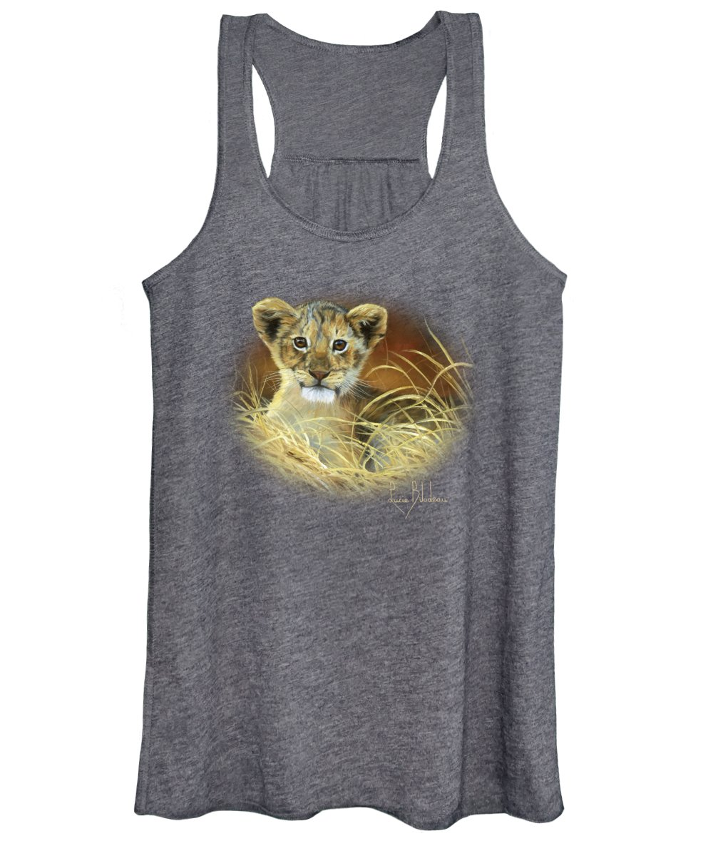 Lion Women's Tank Top featuring the painting King To Be by Lucie Bilodeau