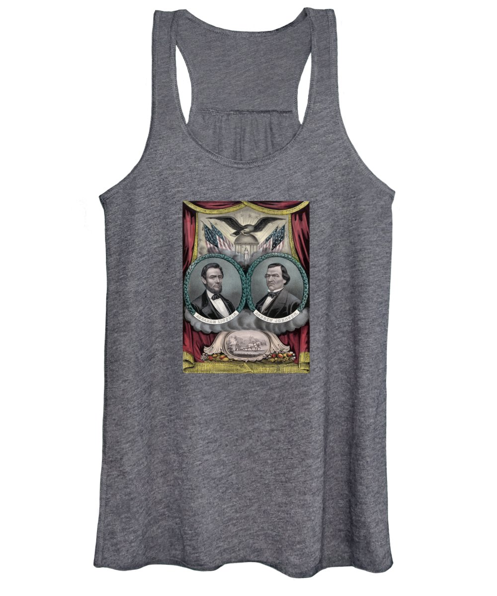 Abraham Lincoln Women's Tank Top featuring the painting Lincoln And Johnson Election Banner 1864 by War Is Hell Store