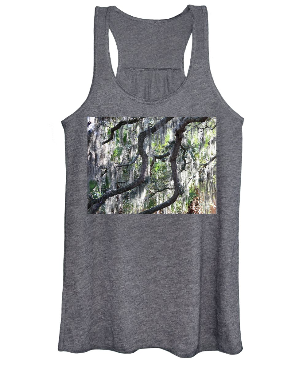 Spanish Moss Women's Tank Top featuring the photograph Live Oak With Spanish Moss And Palms by Carol Groenen