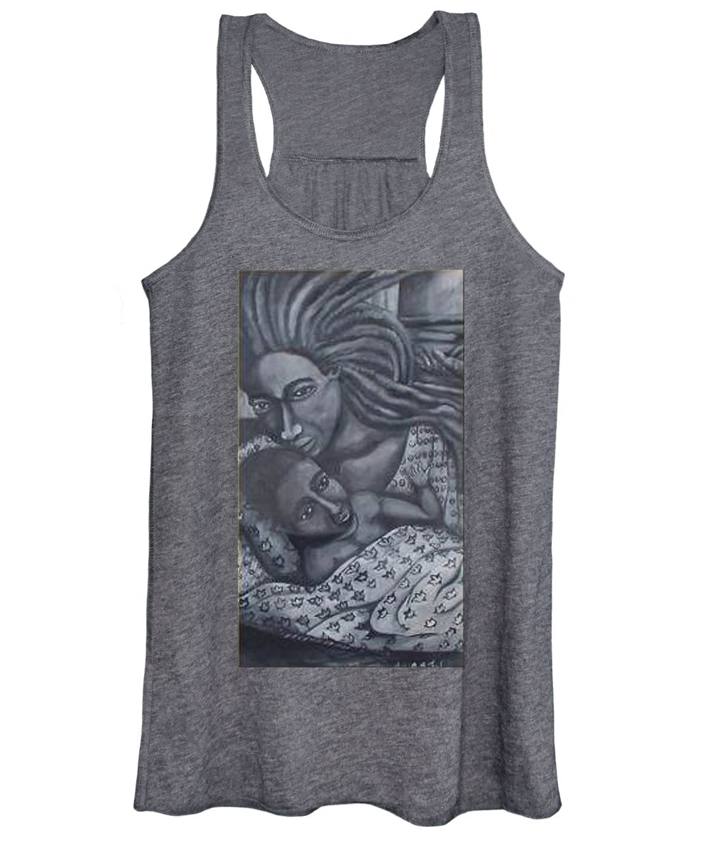 Mother Taking Care Of Child Women's Tank Top featuring the painting Mother And Son by Andrew Johnson