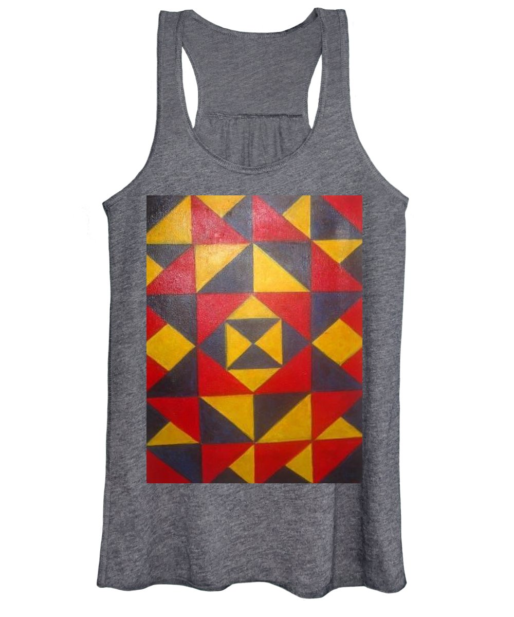 Abstract Women's Tank Top featuring the painting Mountian Woman by Andrew Johnson