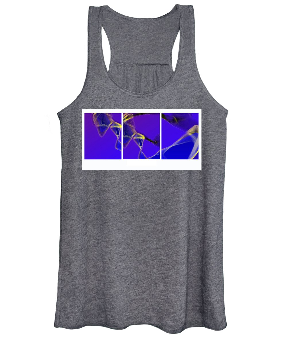 Abstract Women's Tank Top featuring the digital art Movement In Blue by Steve Karol