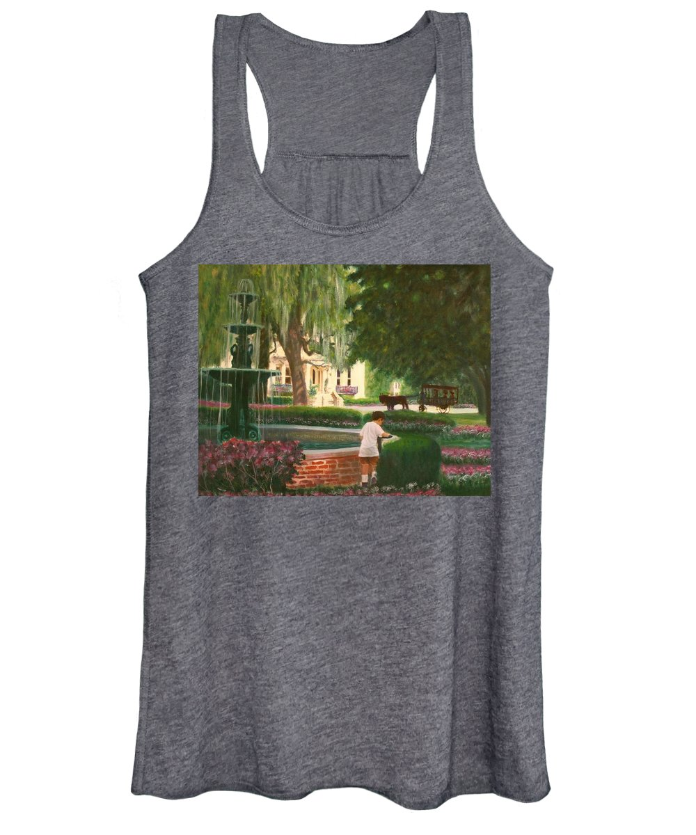 Savannah; Fountain; Child; House Women's Tank Top featuring the painting Old And Young Of Savannah by Ben Kiger