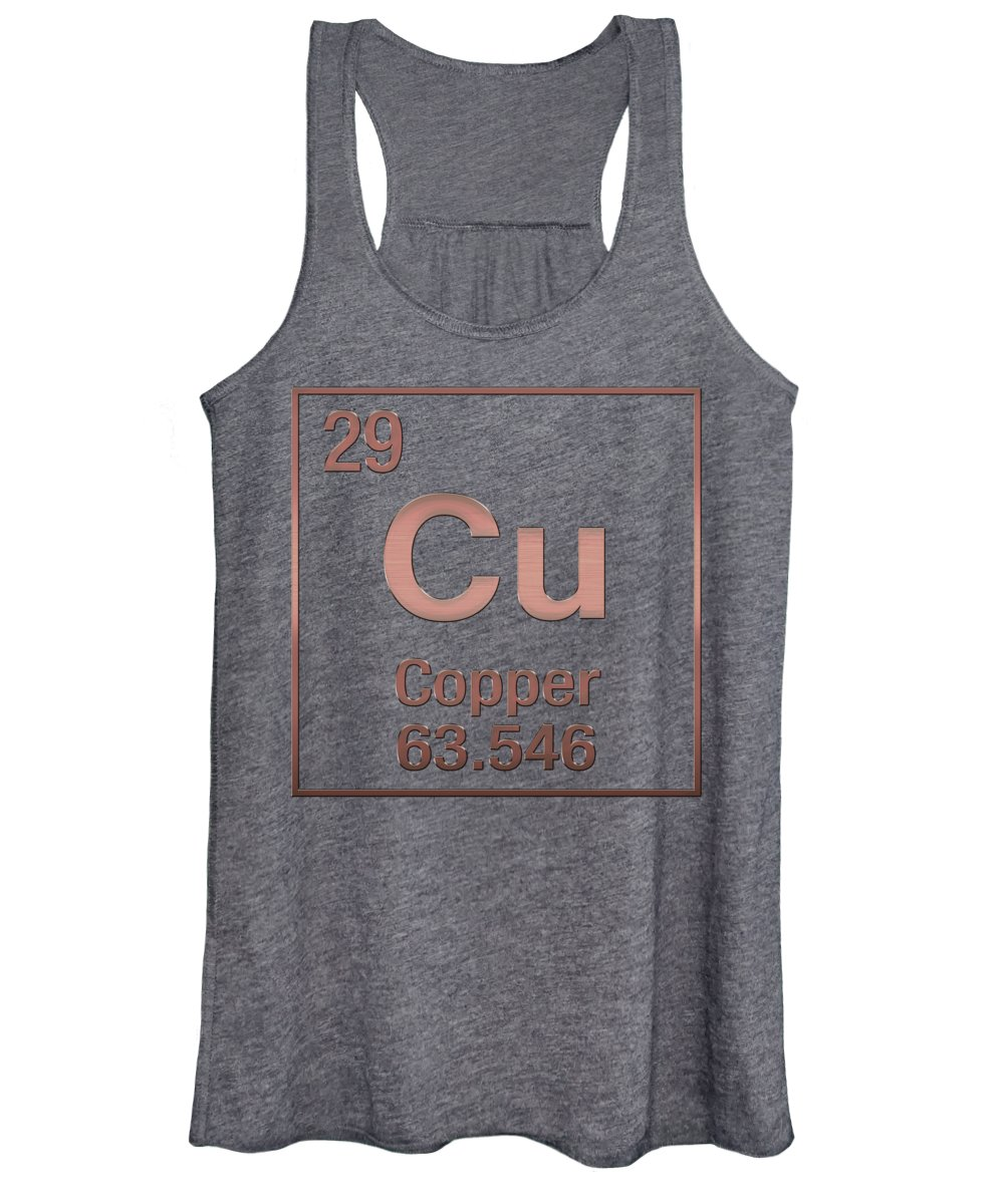 'the Elements' Collection By Serge Averbukh Women's Tank Top featuring the digital art Periodic Table Of Elements - Copper - Cu - Copper On Copper by Serge Averbukh