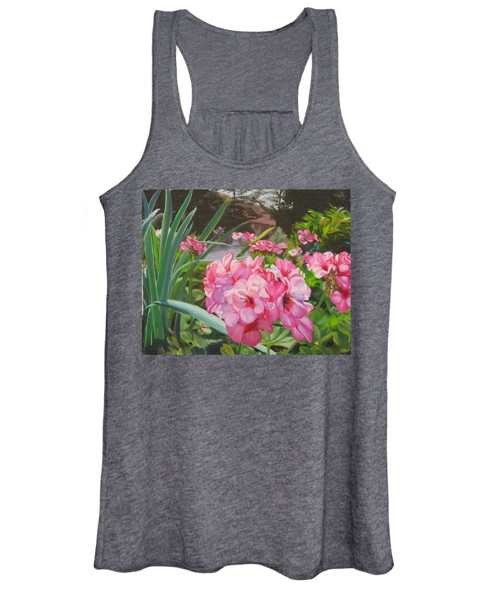 Pink Geraniums Women's Tank Top featuring the painting Pink Geraniums by Lea Novak