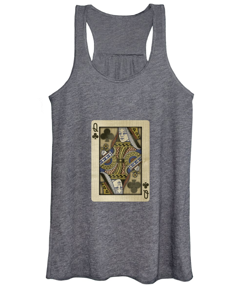 Boards Women's Tank Top featuring the photograph Queen Of Clubs In Wood by YoPedro
