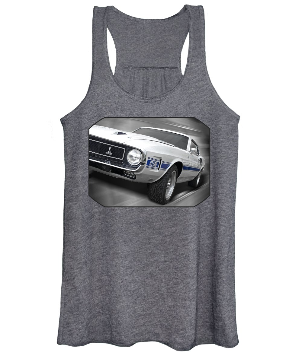 Shelby Mustang Women's Tank Top featuring the photograph Rain Won't Spoil My Fun - 1969 Shelby Gt500 Mustang by Gill Billington