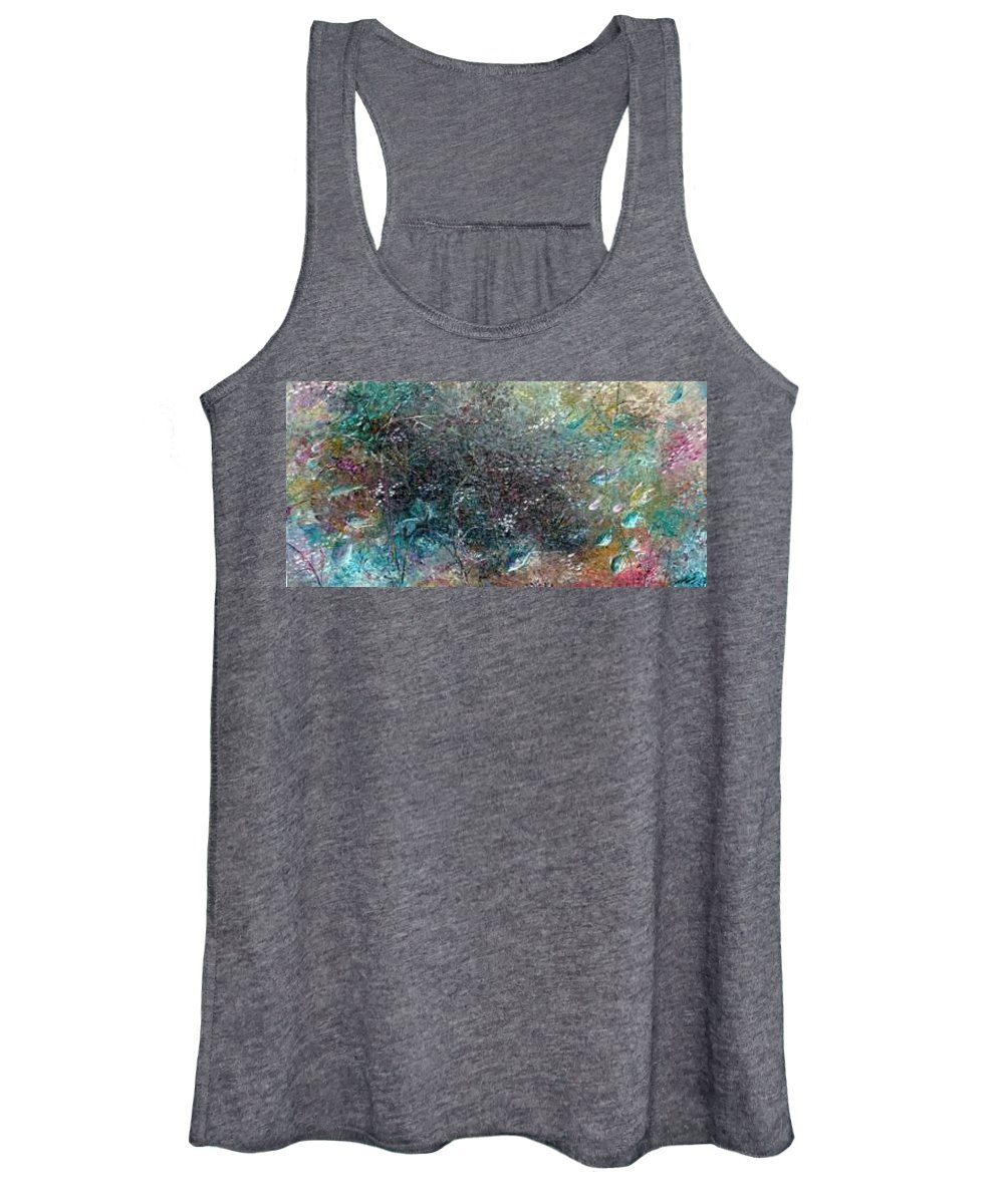 Original Abstract Painting Of Under The Sea Women's Tank Top featuring the painting Rainbow Reef by Karin Dawn Kelshall- Best