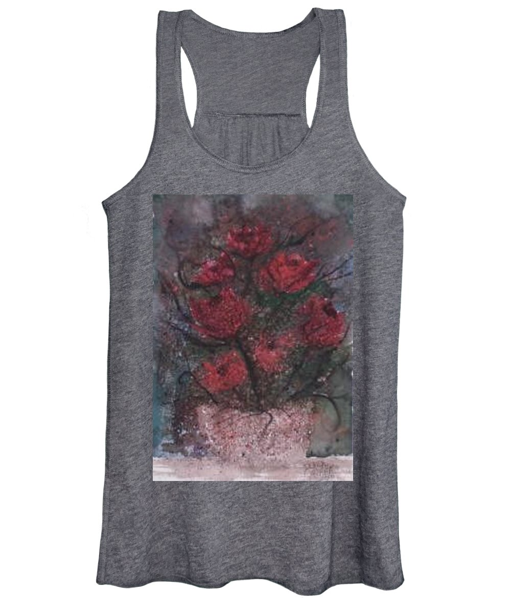 Watercolor Women's Tank Top featuring the painting ROSES AT NIGHT gothic surreal modern painting poster print by Derek Mccrea