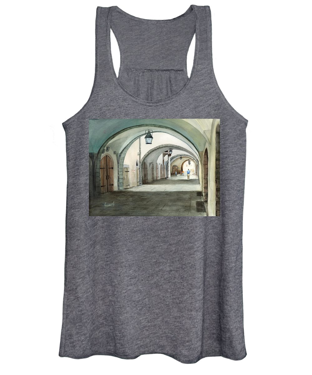 Germany Women's Tank Top featuring the painting Rothenburg Backstreet by Sam Sidders