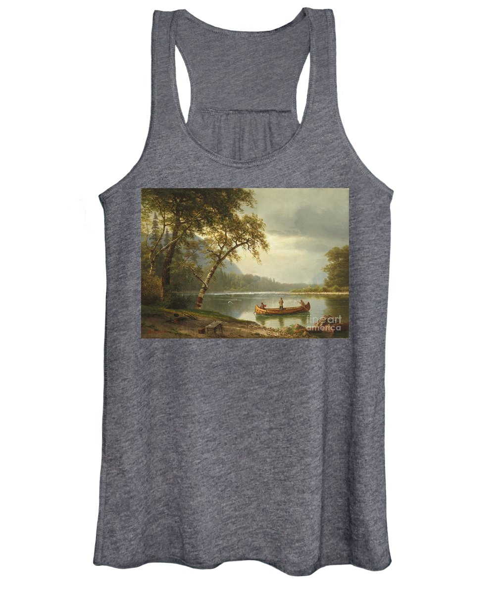 Landscape; Rural; Countryside; Canadian; Fishermen; Boat; Leisure; Calm; Peaceful; Kayak; Camp; Campfire; Fire; Kettle; Scenic; Riverbank Women's Tank Top featuring the painting Salmon Fishing On The Caspapediac River by Albert Bierstadt