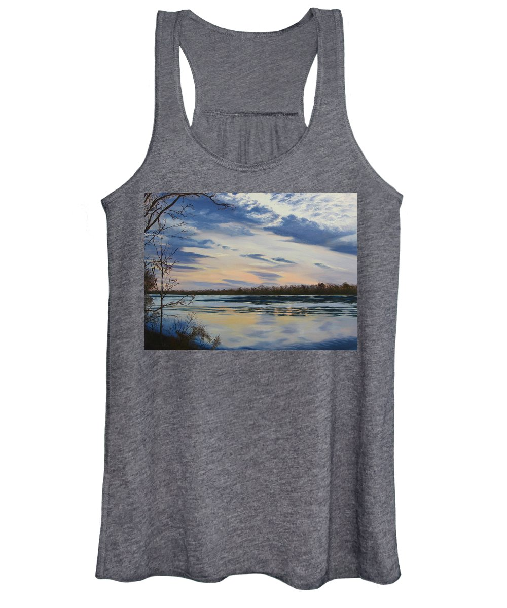 Clouds Women's Tank Top featuring the painting Scenic Overlook - Delaware River by Lea Novak