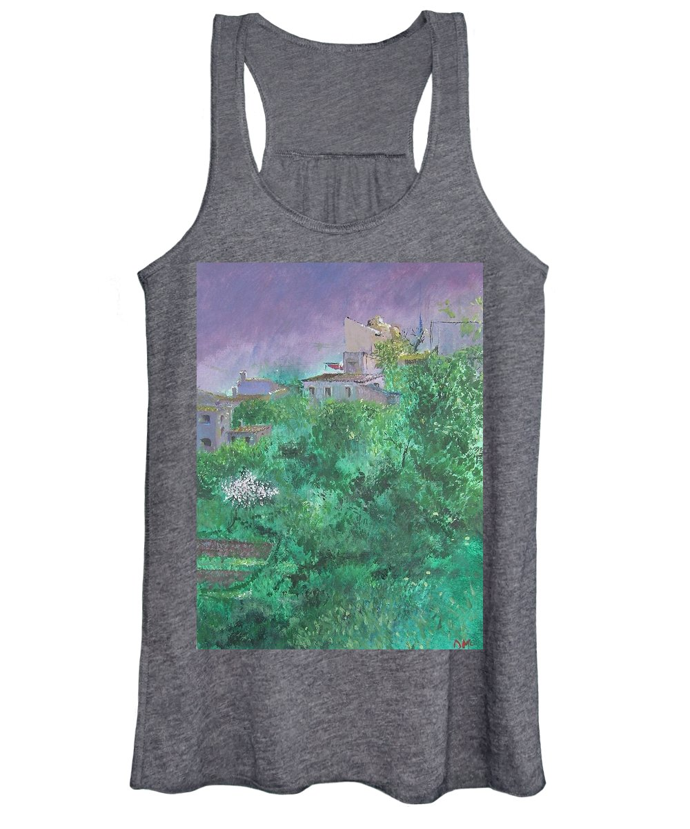 Impressionist Women's Tank Top featuring the painting Solitary Almond Tree In Blossom Mallorcan Valley by Lizzy Forrester