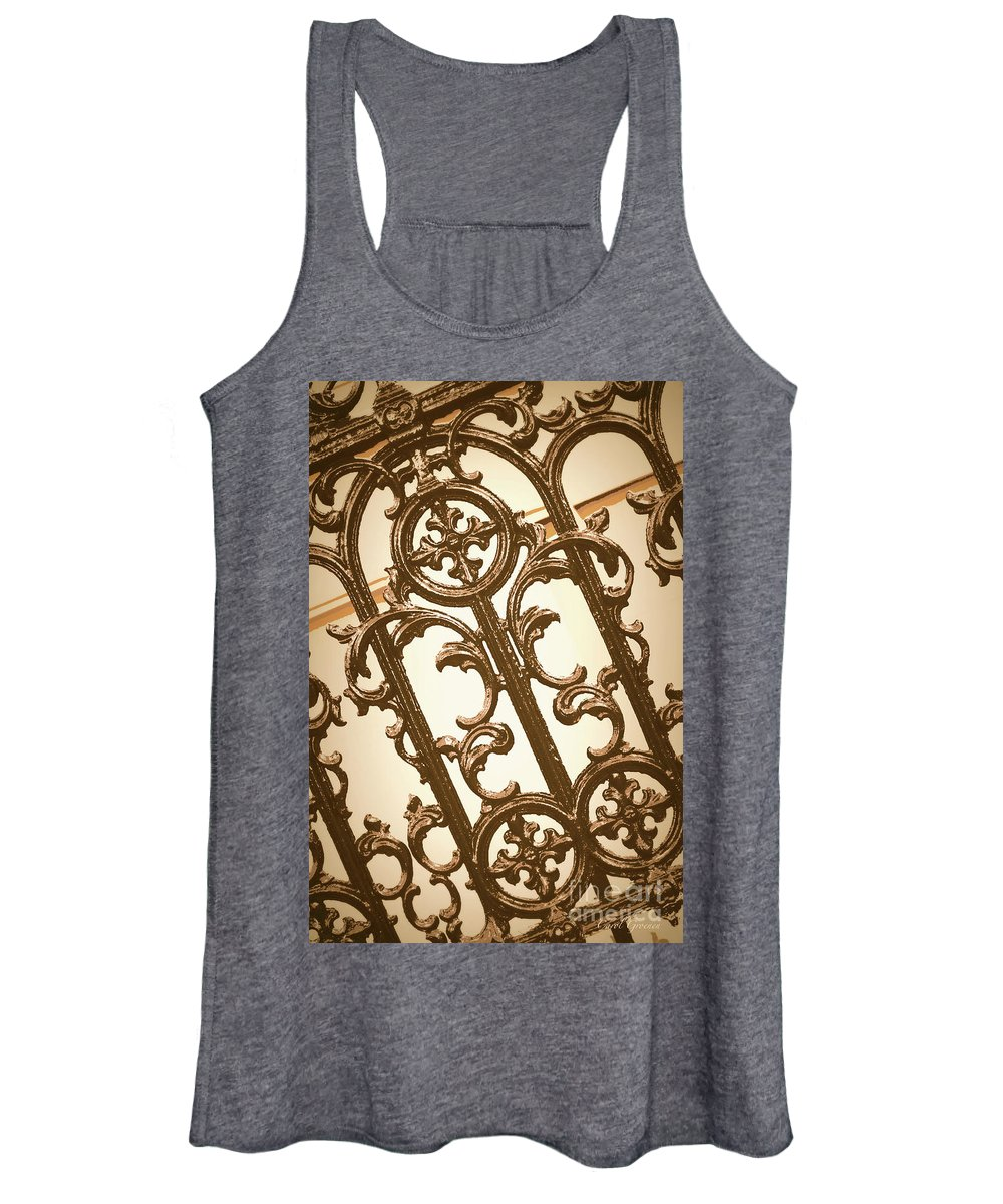 Southern Charm Women's Tank Top featuring the digital art Subtle Southern Charm In Sepia by Carol Groenen