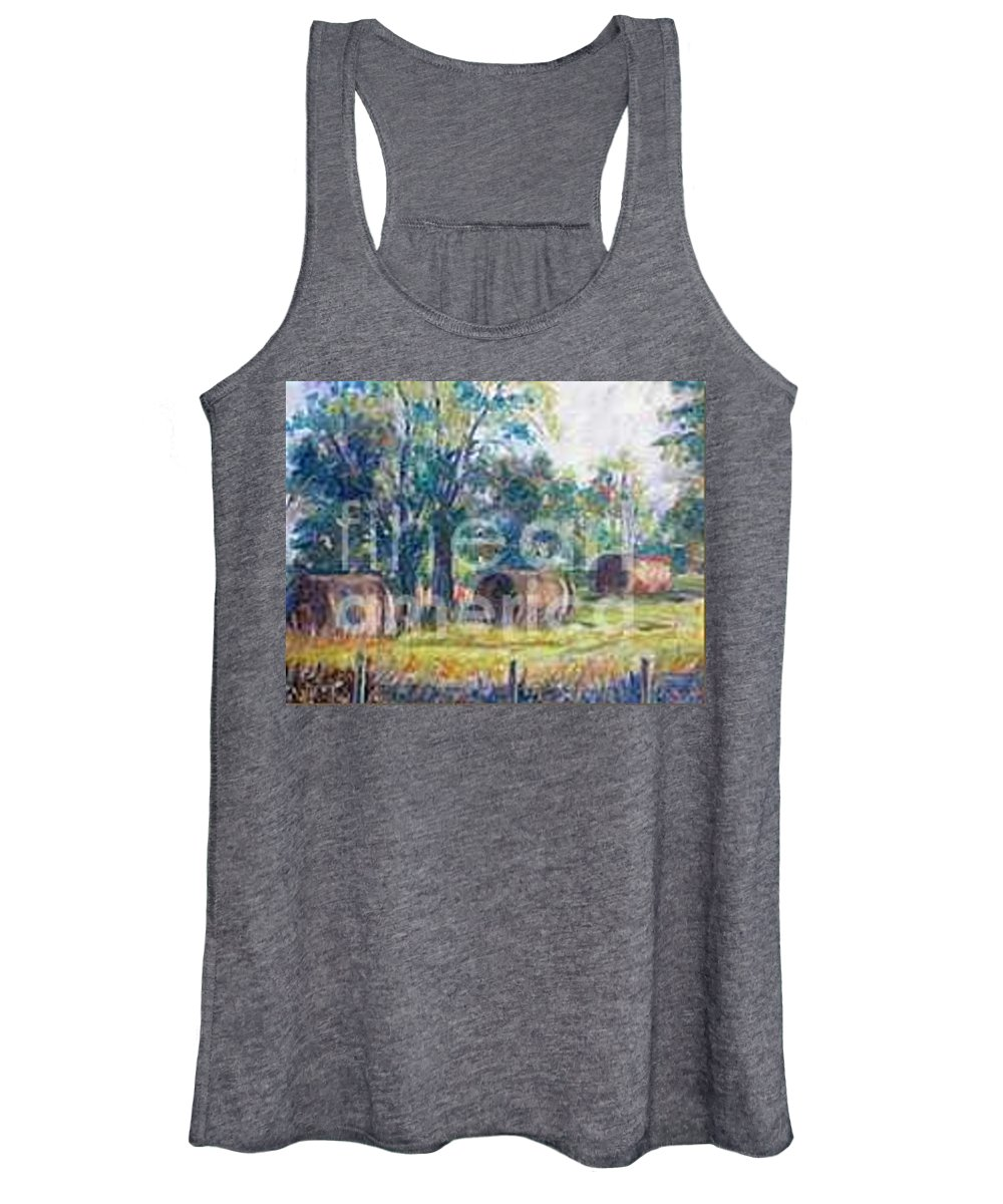 Landscape Women's Tank Top featuring the painting Summer Idyll by Jan Bennicoff
