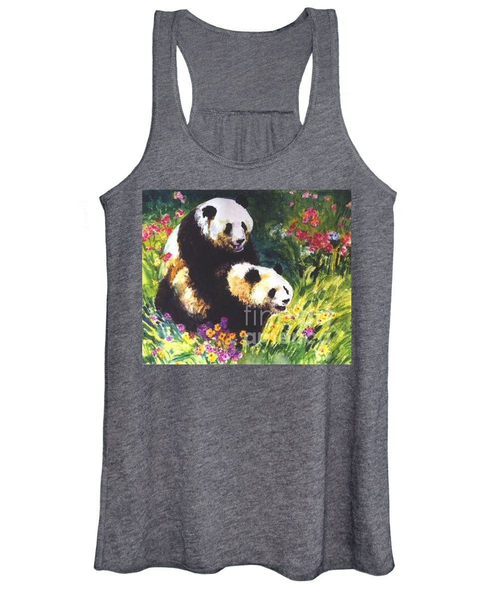Panda Women's Tank Top featuring the painting Sweet As Honey by Guanyu Shi