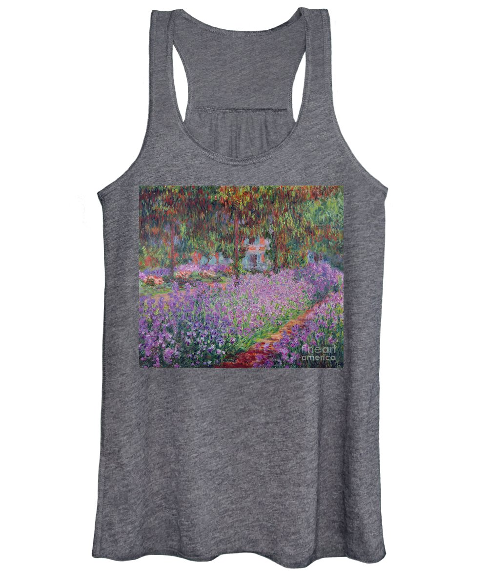The Women's Tank Top featuring the painting The Artists Garden At Giverny by Claude Monet