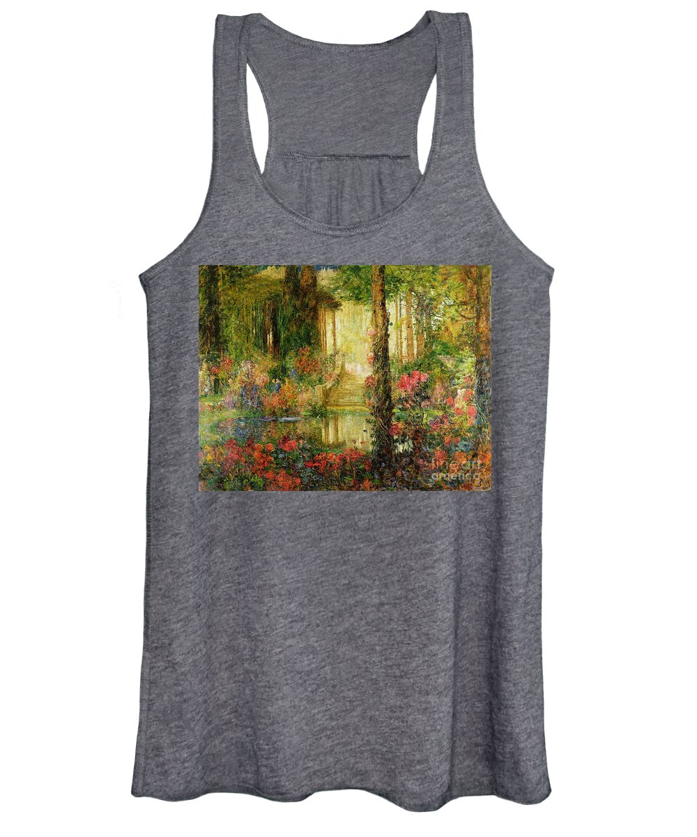 The Women's Tank Top featuring the painting The Garden Of Enchantment by Thomas Edwin Mostyn