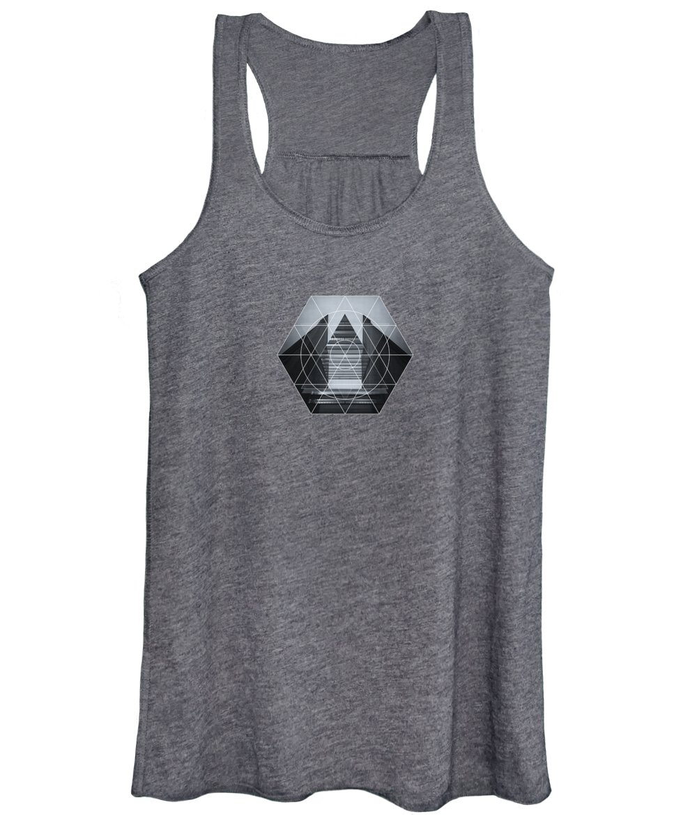 Back White Women's Tank Top featuring the photograph The Hotel Experimental Futuristic Architecture Photo Art In Modern Black And White by Philipp Rietz