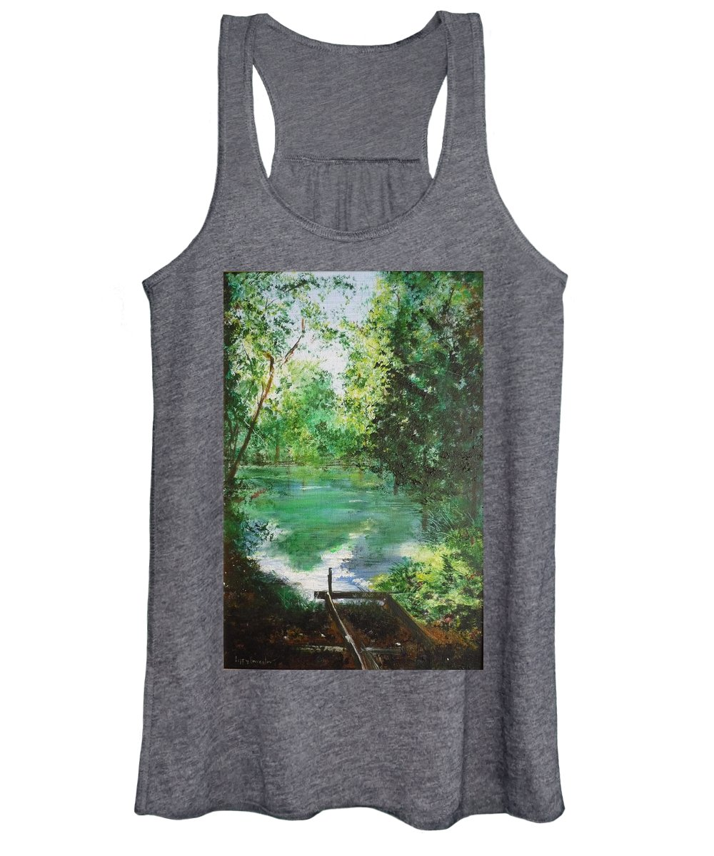 Lake Women's Tank Top featuring the painting The Lake At Stansted Unfinished by Lizzy Forrester