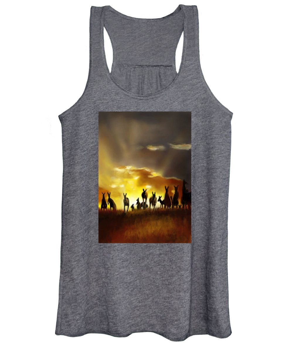 Kangaroos Australia Roos Mob Sunset Dusk Outback Country Rural Farming Nature Wildlife Marsupial Poach Hop Jump Skippy Silhouette Aussie Pouch Women's Tank Top featuring the digital art The Mob by Lincoln Howes
