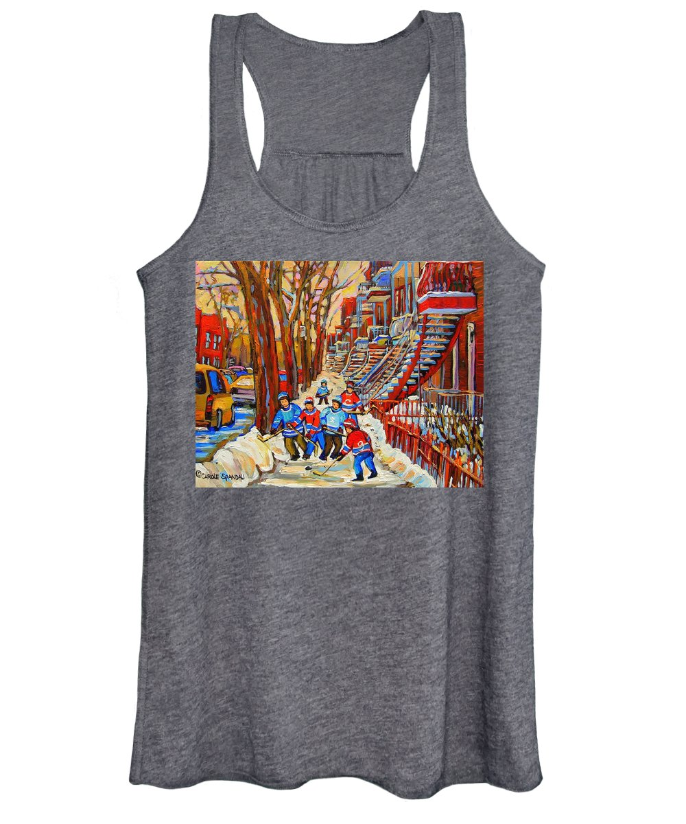 Women's Tank Top featuring the painting The Red Staircase Painting By Montreal Streetscene Artist Carole Spandau by Carole Spandau