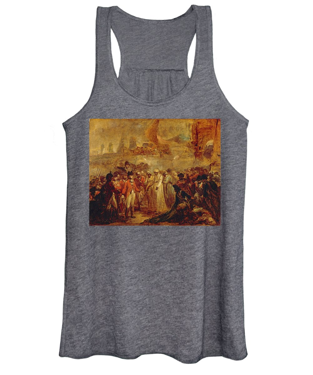 Henry Singleton Women's Tank Top featuring the painting The Surrender Of The Two Sons Of Tipu Sahib Sultan Of Mysore To Sir David Baird by Henry Singleton