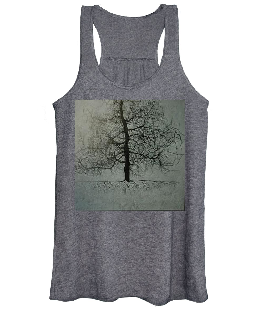 Silhouette Women's Tank Top featuring the painting Untitled Blue by Leah Tomaino